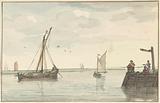 The stone beacon and the harbor head of Durgerdam