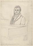 Portrait of Sloos, blind organist in Delft, at the organ