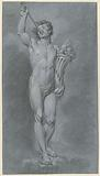 Standing male nude with cornucopia and trumpet