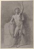 Standing male nude, leaning against a block