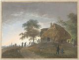 Fight at an inn or thatched-roof house on a hill
