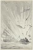 Explosion of the Dutch pirate ship De Dappere Patriot in battle with the English ship Kameleon, 14 August 1781