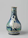 Vase, bottle-shaped, multicoloured painted with landscape with naked woman (Ariadne) and with the inscription