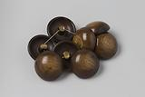 Button (8 pieces), ball, of brown and beige plastic (celluloid?) With copper eye
