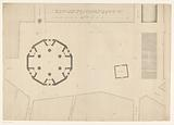 Floor plan of the Botermarkt in Amsterdam with a design for a dome church