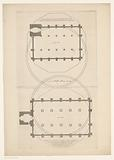Floor plans of the Zuider and Westerkerk with outline of the design for a dome church on the Botermarkt in Amsterdam