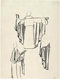 Three drapery studies of a standing man in a long cloak, seen from the front