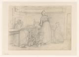 Kitchen interior with wife and children