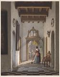 Girl sweeping the hallway of a house