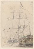Sketch after a model of a seventeenth century Dutch frigate