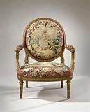 Armchair upholstered in tapestry with a girl with a basket of flowers (petite jardinière / petite fille portant des …