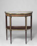 Penant table with two half oval shaped marble tops with gallery