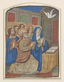 Miniature from a book of hours: Mary with child, on a throne.
