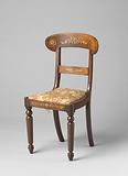 Mahogany chair, decorated with ash marquetry, front and back rests with stylized leaf and flower motifs
