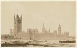 Houses of Parliament, London, with ships in the Thames in the foreground