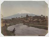 View of Mount Fuji from the village of Omiya