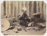 Japanese shoemaker at work