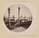 View of gondolas in the lagoon of Venice, in the distance the church of San Giorgio Maggiore