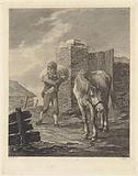 Man with bag on shoulder in saddle horse