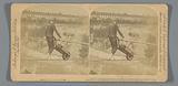 Acrobat Clifford M Calverley balancing on a rope above Niagara Falls