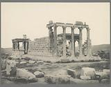 View of the Erechtheum with caryatids on the Acropolis in Athens