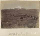 View of Mount Demaoend in Persia, with men in the foreground with a tripod in the foreground