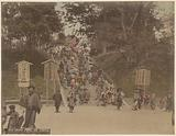 People on a stairway in the Ueno park in Tokyo