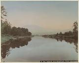 Mount Fuji as seen from a lake near Tagonoura