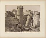 Columns with hieroglyphics of the great hall (hypostyle hall) in the Temple of Karnak