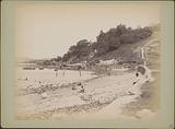 Beach and bathers at the foot of Mount Palmer (Mount Parsee, Parsee Hill) near Singapore