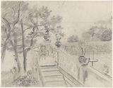 Terrace with stairs to a garden