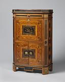 Secretaire with marquetry and lacquer panels