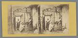 Scene in a barn depicting a woman and a man at a well and a woman in the doorway