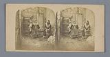 Theatrical performance of two women at a well and behind them a man in the doorway
