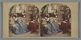 Scene in a living room with possibly a stereoscope on the table