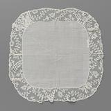 Batiste handkerchief with a bobbin edge with cartouches and sloping tendrils with oval leaves on both sides