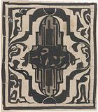 Decorative design with two stylized lions