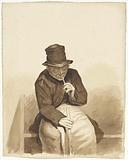 Seated smoking man
