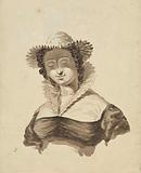 Bust of a woman with hat and stand-up collar