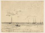 Ships at anchor with a rowing boat in the foreground