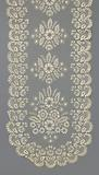 Stole of bobbin lace with symmetrical floral motifs and scalloped edge