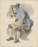 Seated man lights his pipe to a test