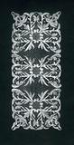 Lace design of a rectangular rug with oblong leaf volute motifs in white ink on black cardboard