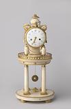 White marble mantel clock under round glass bell jar