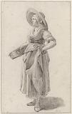 Standing woman with hat carrying a basket