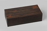 Gavel (A) in rectangular chest (B) of coromandel wood, inlaid with a lighter type of wood