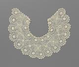 Crocheted lace collar with three rows of embossed roses and round scallops