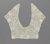 Crocheted lace collar with eight large spiral circles along the outer edge and four embossed loop roses