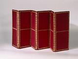Folding screen with six panels, made of a finely profiled walnut frame