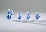 Milk glass jug painted with blue enamel paint, imitation Chinese porcelain